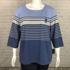 Heather Blue Striped 3/4 Sleeve Top Plus Size 3X